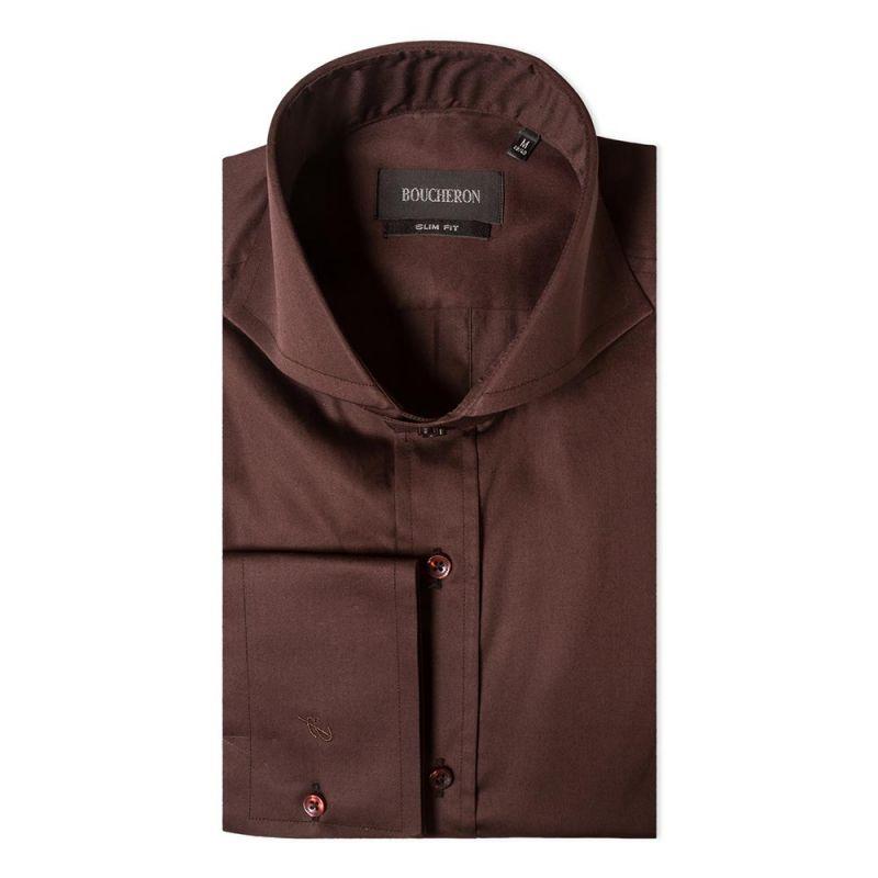 Рубашка коричневая однотонная приталенная