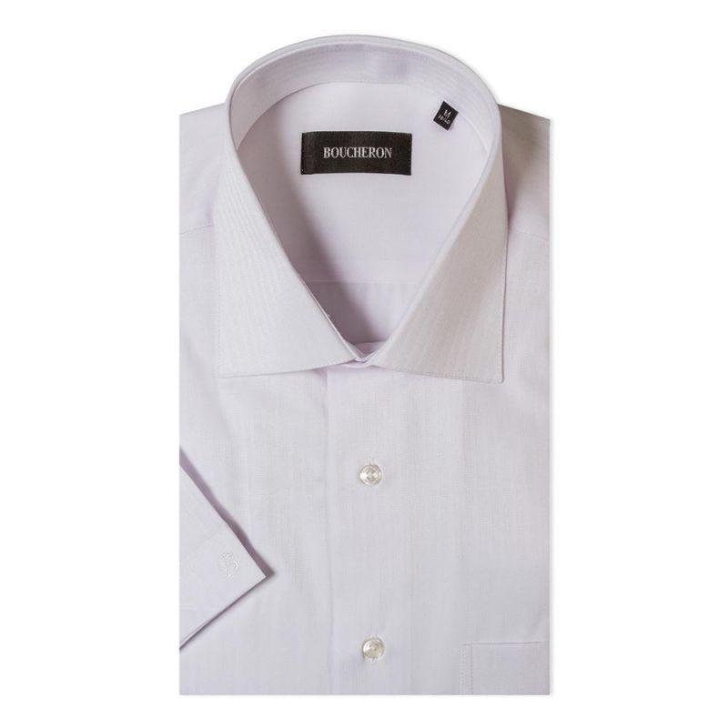 Рубашка белая с выделкой с короткими рукавами неприталенная