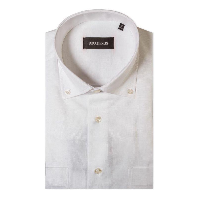 Рубашка белая однотонная с короткими рукавами