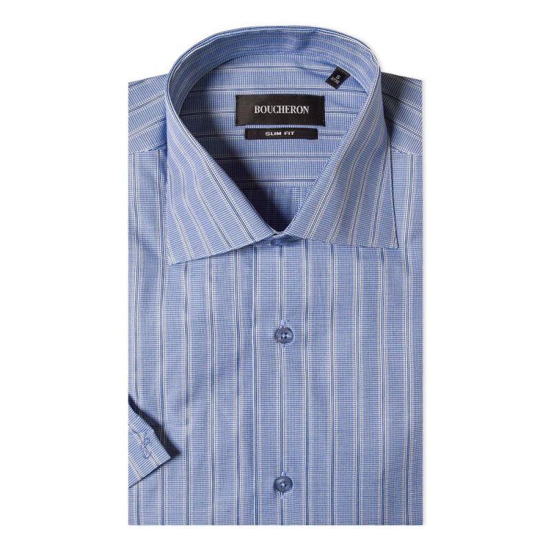 Рубашка голубая в полоску с короткими рукавами приталенная