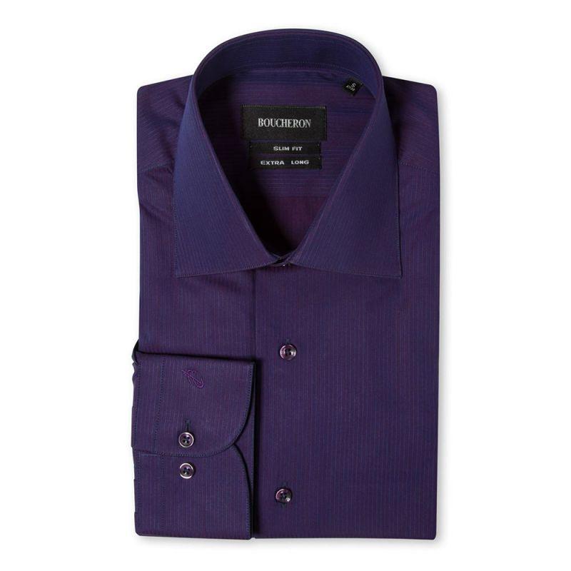 Фиолетовая рубашка в полоску приталенная и удлиненнная