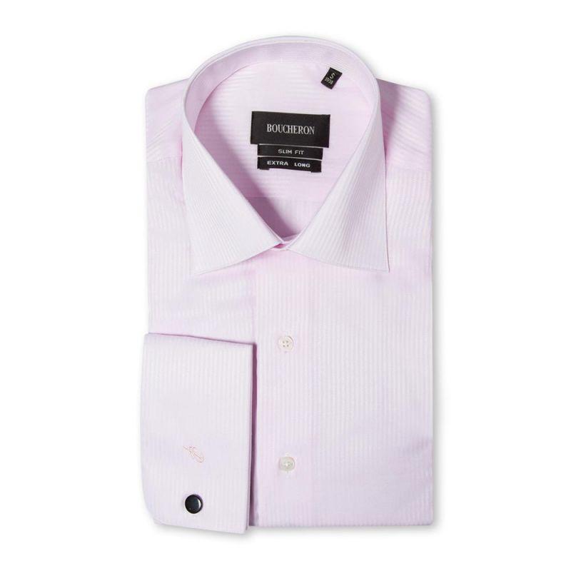 Розовая рубашка в полоску приталенная и удлиненная