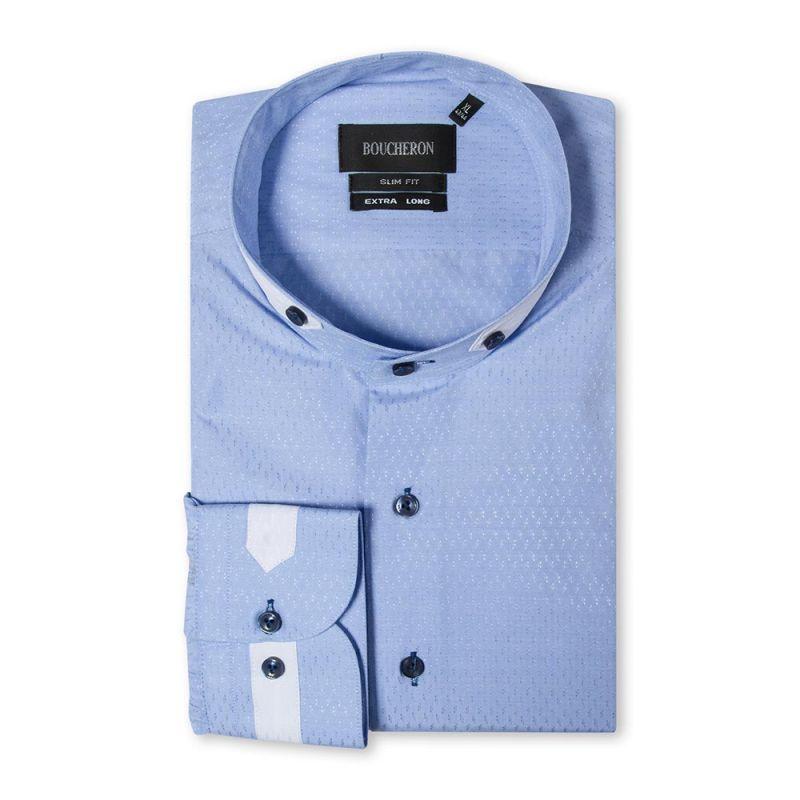 Рубашка синяя с выделкой в ромб, приталенная, удлинённая
