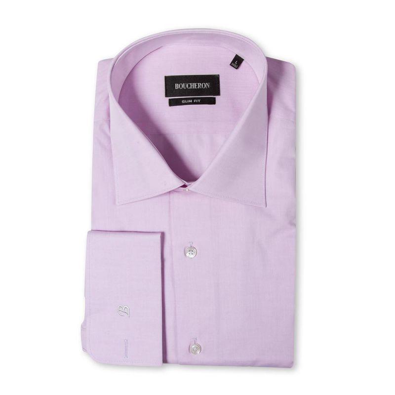 Рубашка однотонная розовая, приталенная, под запонки