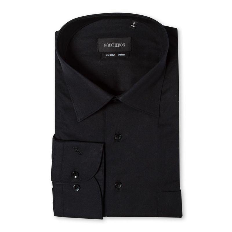Рубашка чёрная однотонная, неприталенная, удлинённая
