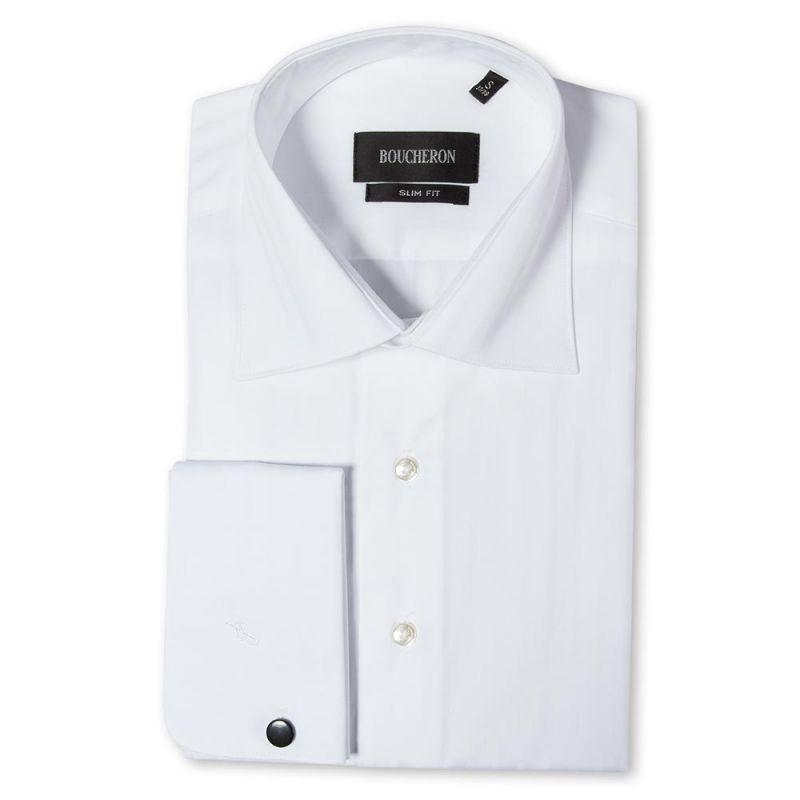 Рубашка белая однотонная, приталенная