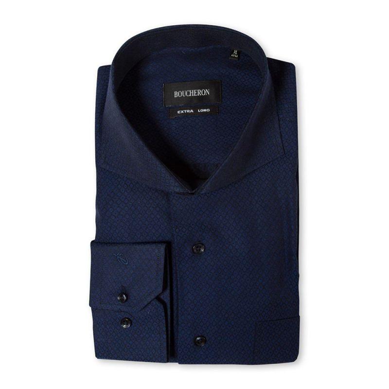 Рубашка тёмно-синяя с выделкой в ромб, неприталенная, удлинённая