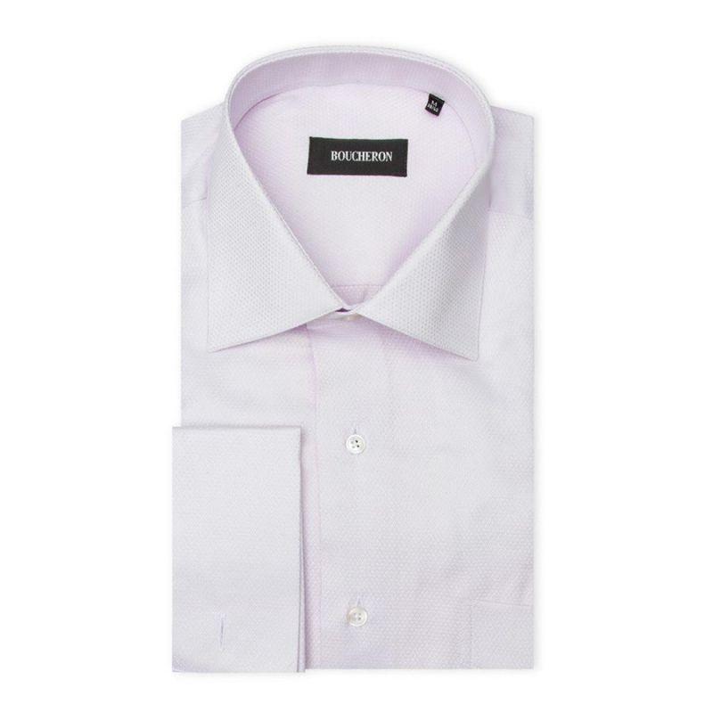 Рубашка бежевая под запонки, неприталенная, удлинённая