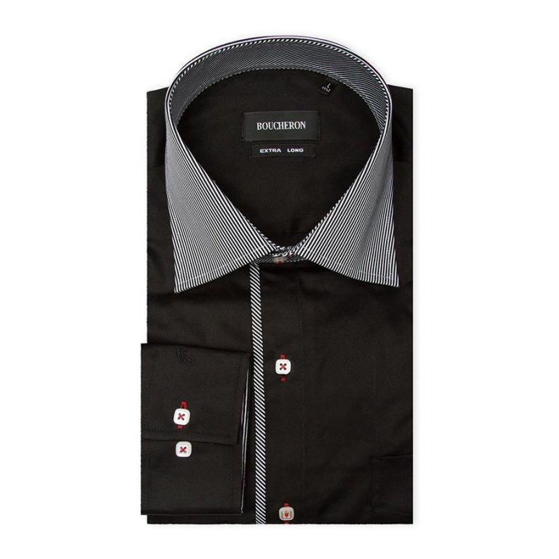 Рубашка чёрная с серым воротником, из хлопка, неприталенная