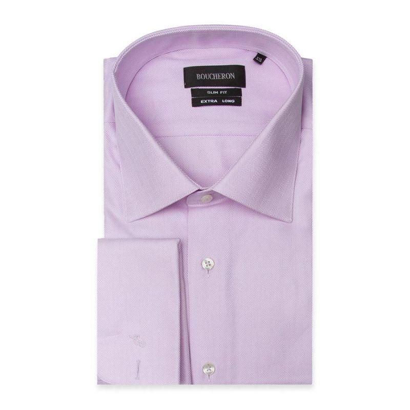 Рубашка розовая под запонки, на высокий рост, приталенная