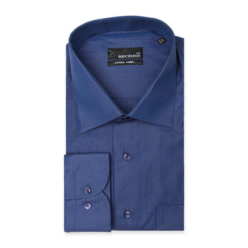 Рубашка синяя, неприталенная, на высокий рост