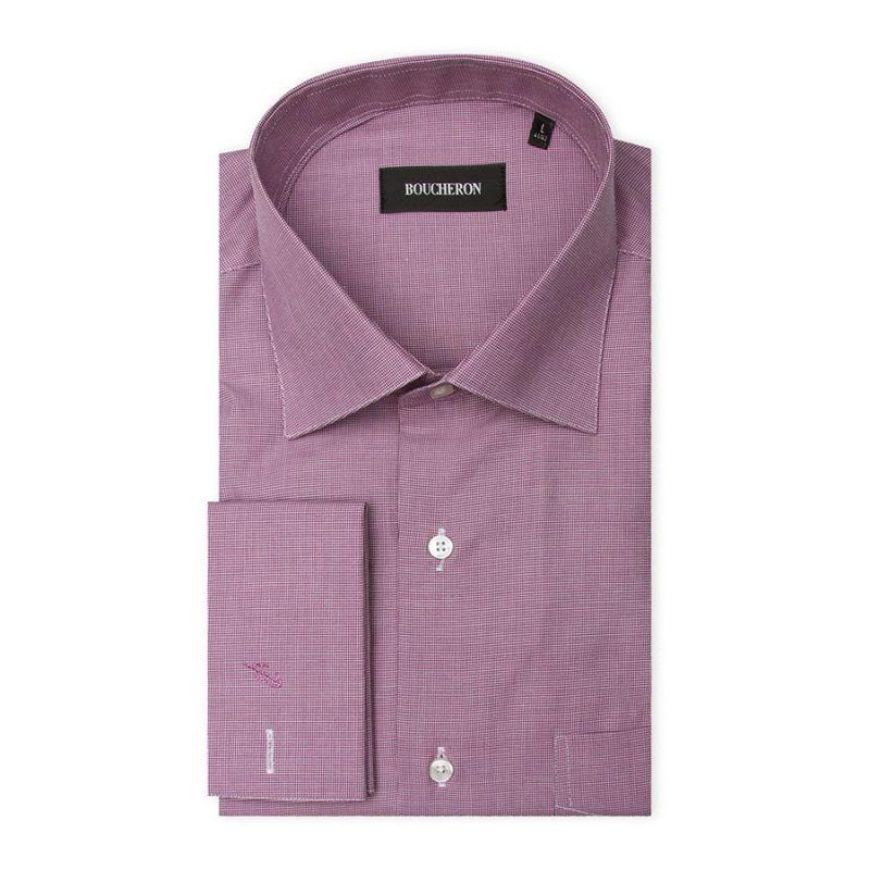 Рубашка светло-фиолетовая, под запонки, неприталенная