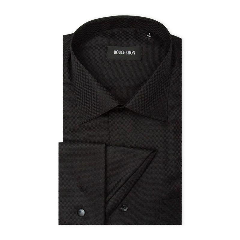 Рубашка чёрная под запонки, приталенная