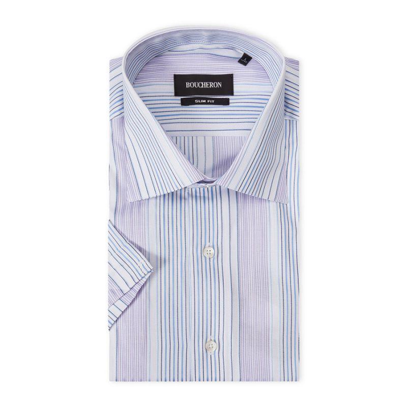 Рубашка голубая в полоску, с короткими рукавами, приталенная