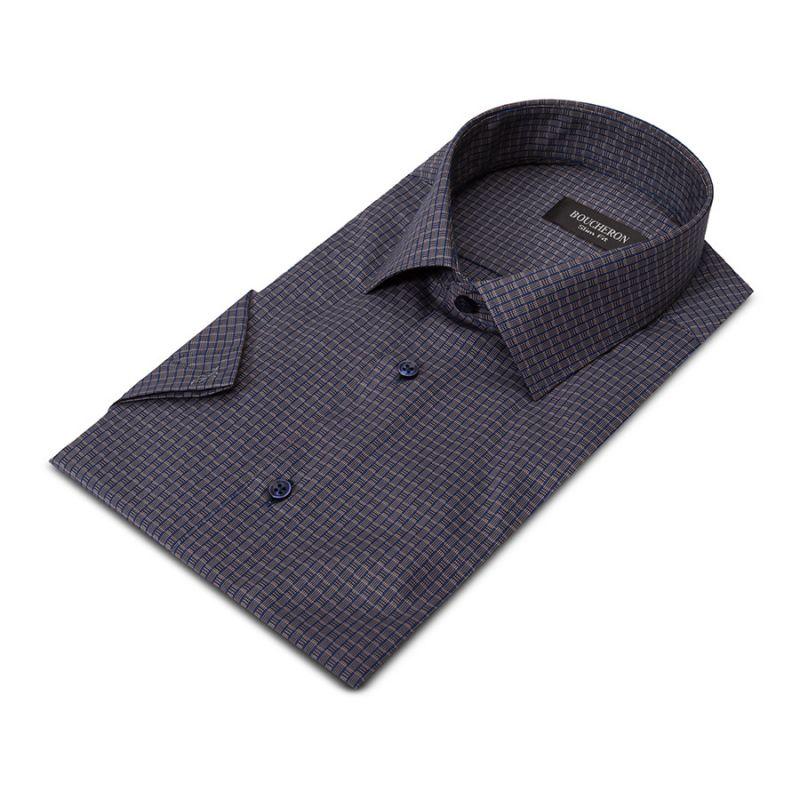 Рубашка серая с рисунком, приталенная