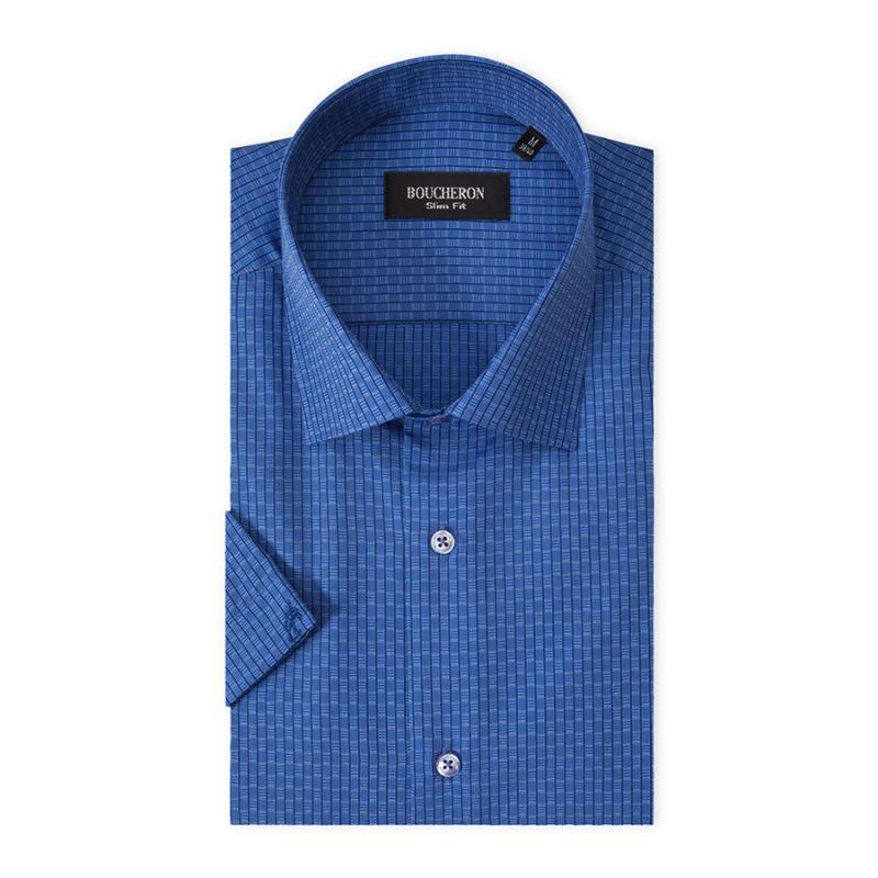 Рубашка синяя с рябью, приталенная