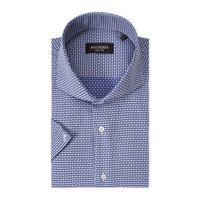 Рубашка белая с синей рябью, приталенная