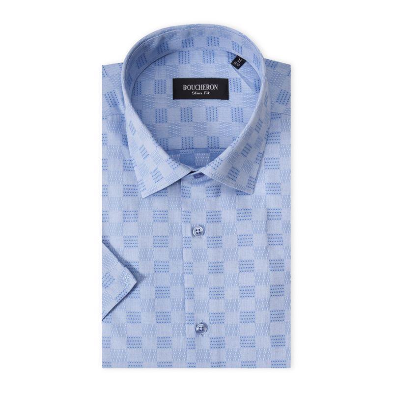 Рубашка голубая с выделкой, приталенная