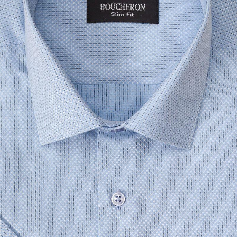 Рубашка голубая с рябью, приталенная