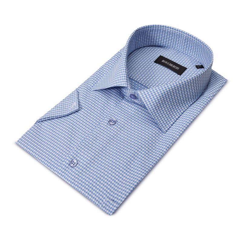 Рубашка голубая с рябью, неприталенная
