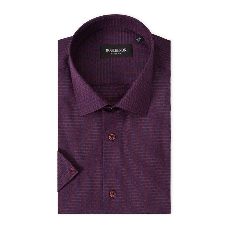Рубашка фиолетовая в полоску, приталенная