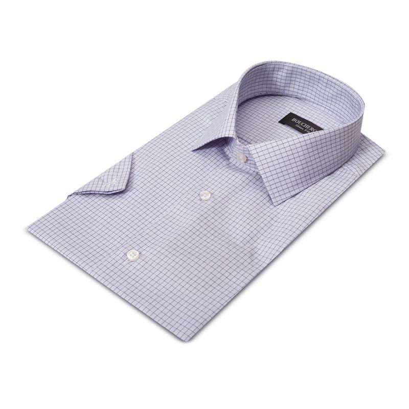 Рубашка светло-лиловая в клетку, приталенная