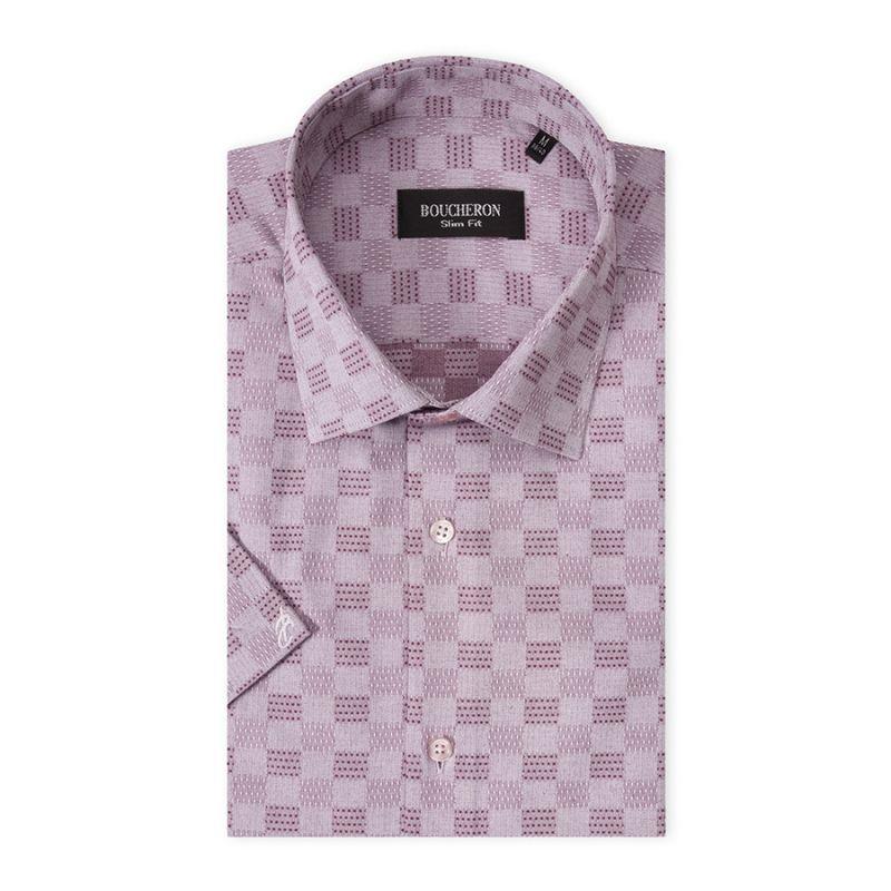 Рубашка розовая в клетку, приталенная