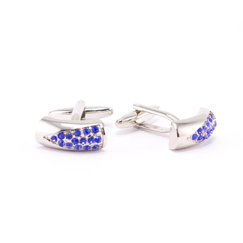 Запонки серебряного цвета, с синими кристаллами