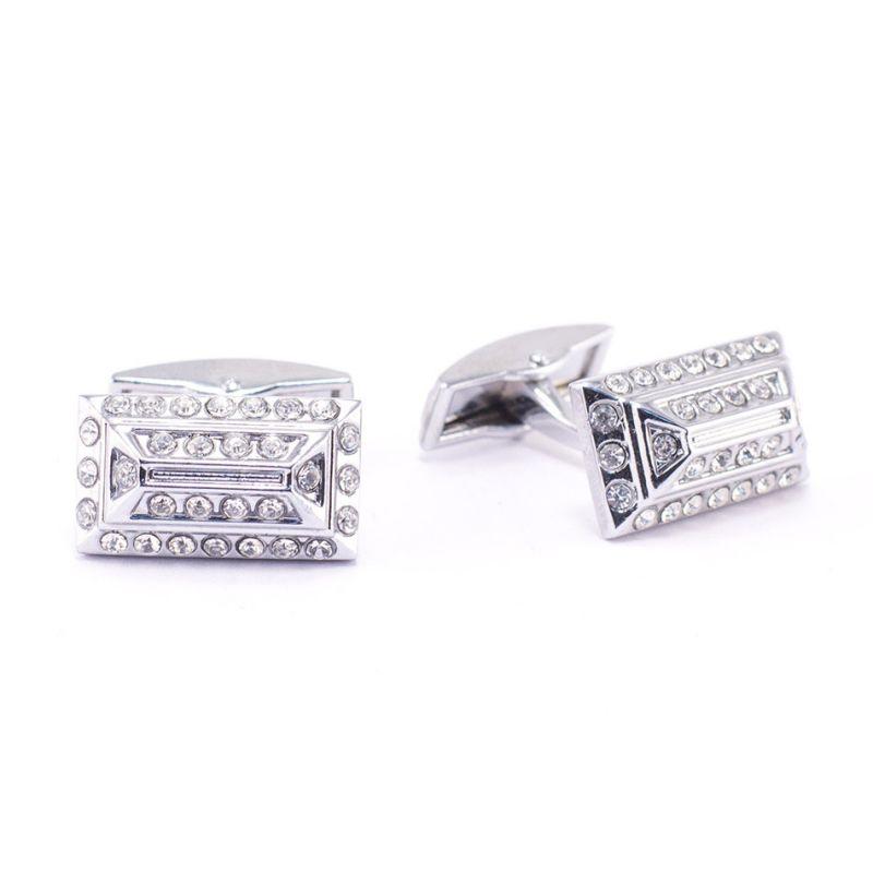 Прямоугольные запонки серебряного цвета, с белыми кристаллами