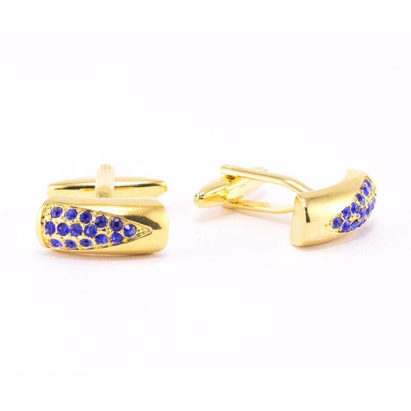 Запонки золотого цвета, с синими кристаллами
