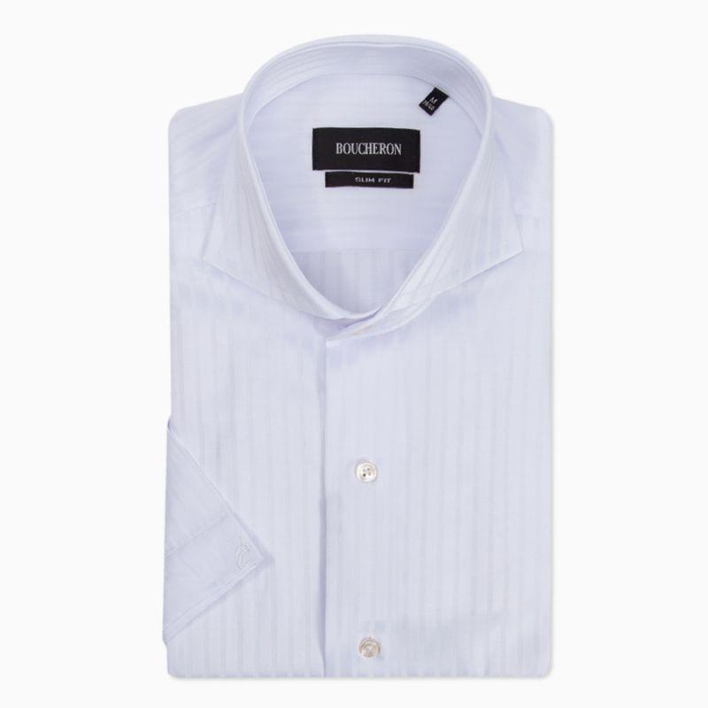 Рубашка белая с выделкой, с короткими рукавами, приталенная
