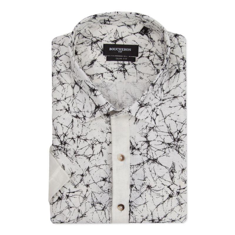 Рубашка белая льняная с рисунком, с короткими рукавами, приталенная