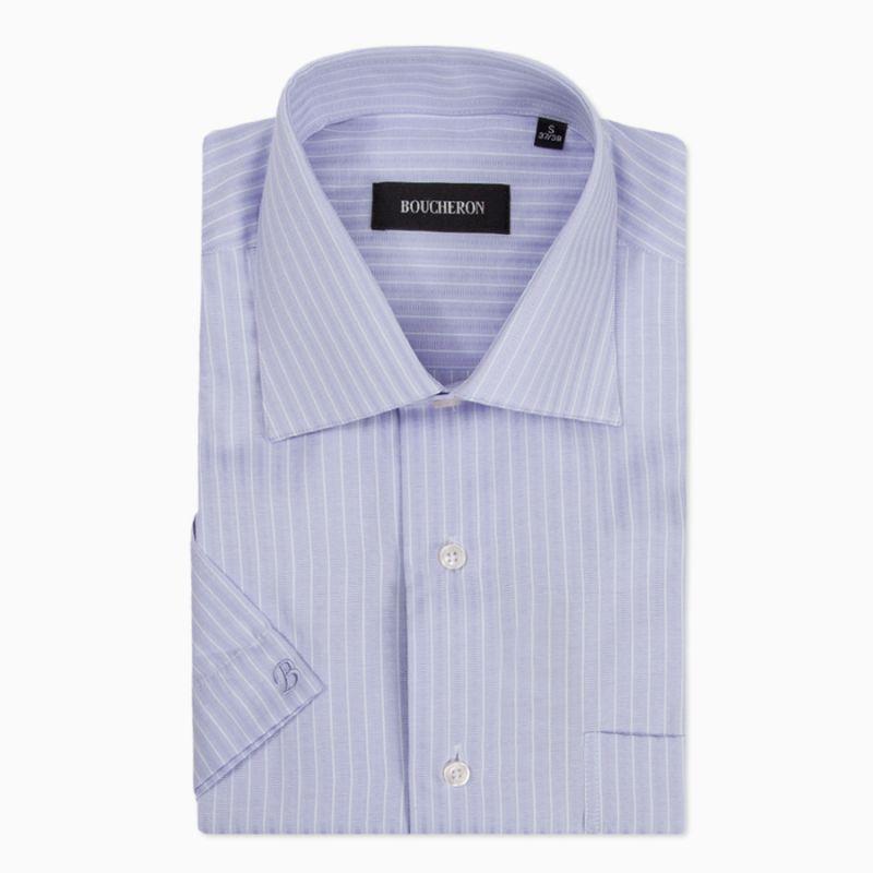 Рубашка лиловая с короткими рукавами, неприталенная