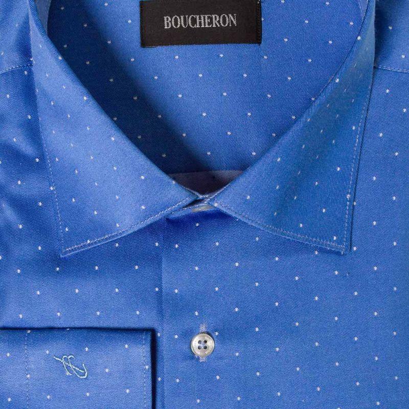 Синяя рубашка в горошек неприталенная, удлинённая