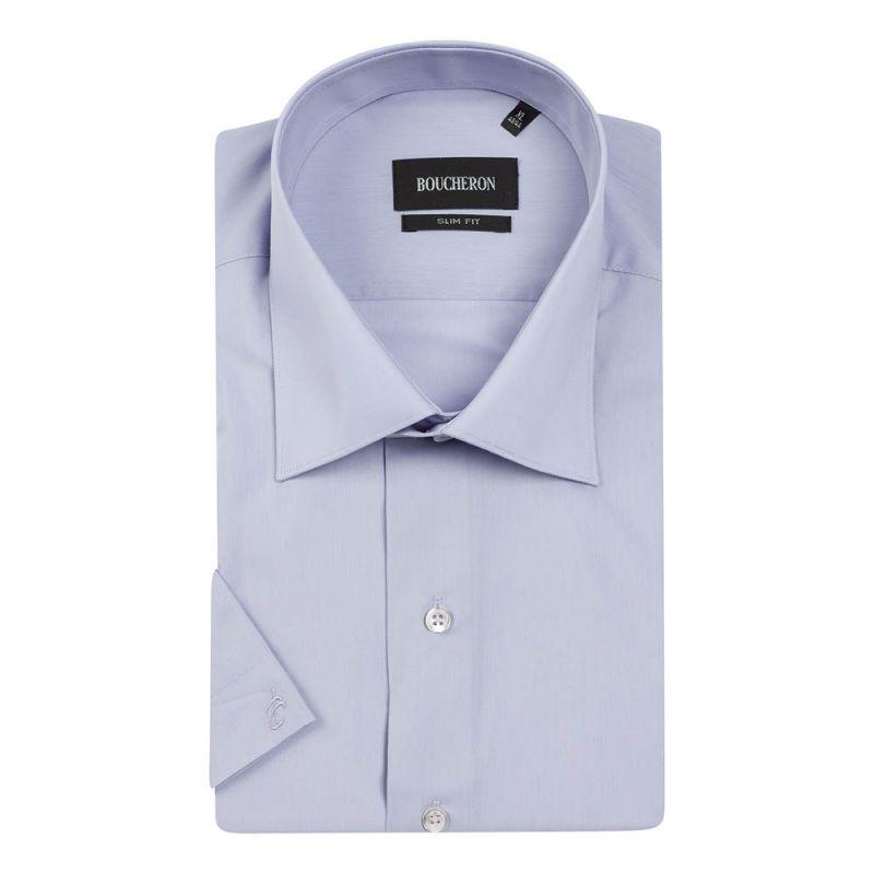 Рубашка бледно-фиолетовая с короткими рукавами приталенная