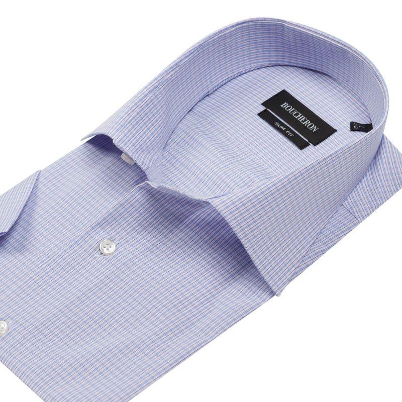 Рубашка светло-сиреневая в клетку с короткими рукавами приталенная