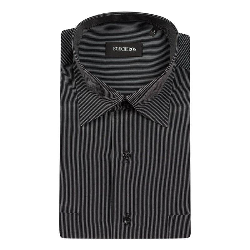 Рубашка чёрная в полоску с короткими рукавами неприталенная