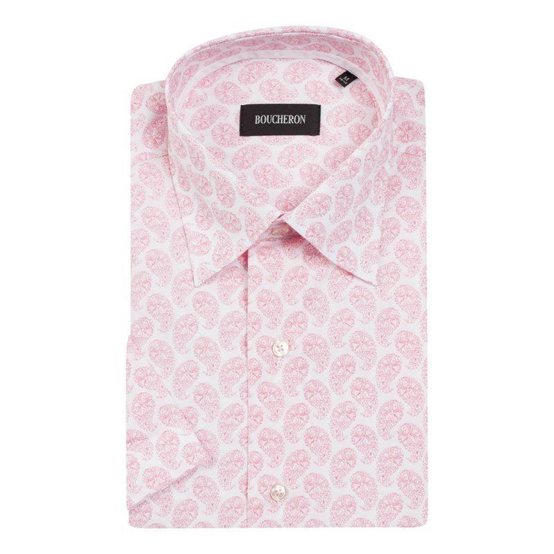 Рубашка бело-розовая с огурцами, с короткими рукавами, неприталенная
