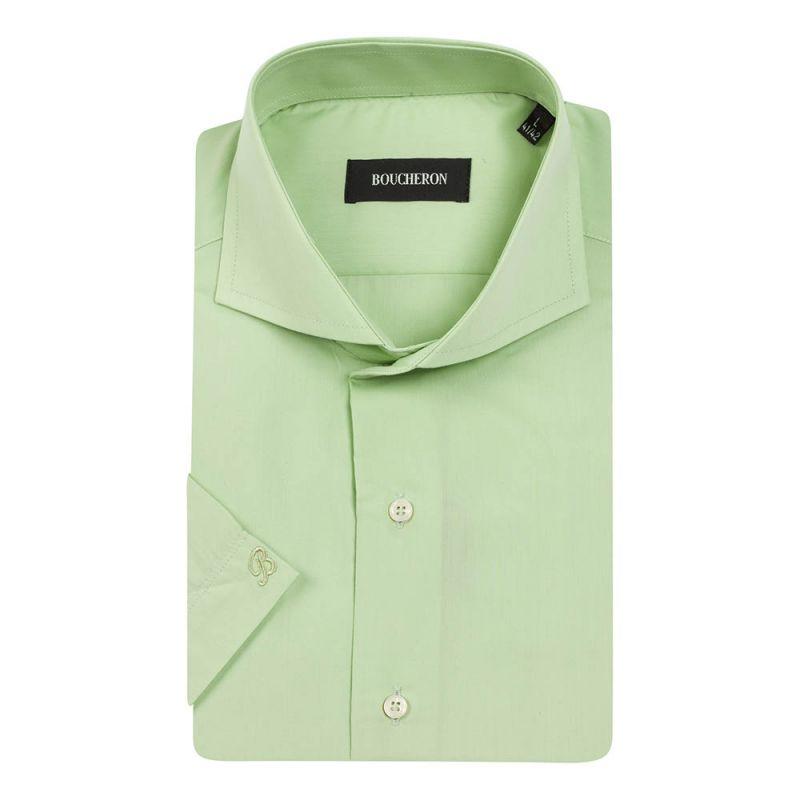 Рубашка салатовая с короткими рукавами неприталенная