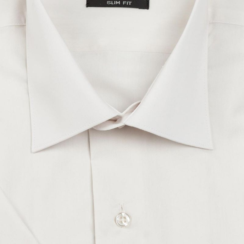 Рубашка шампань с короткими рукавами приталенная