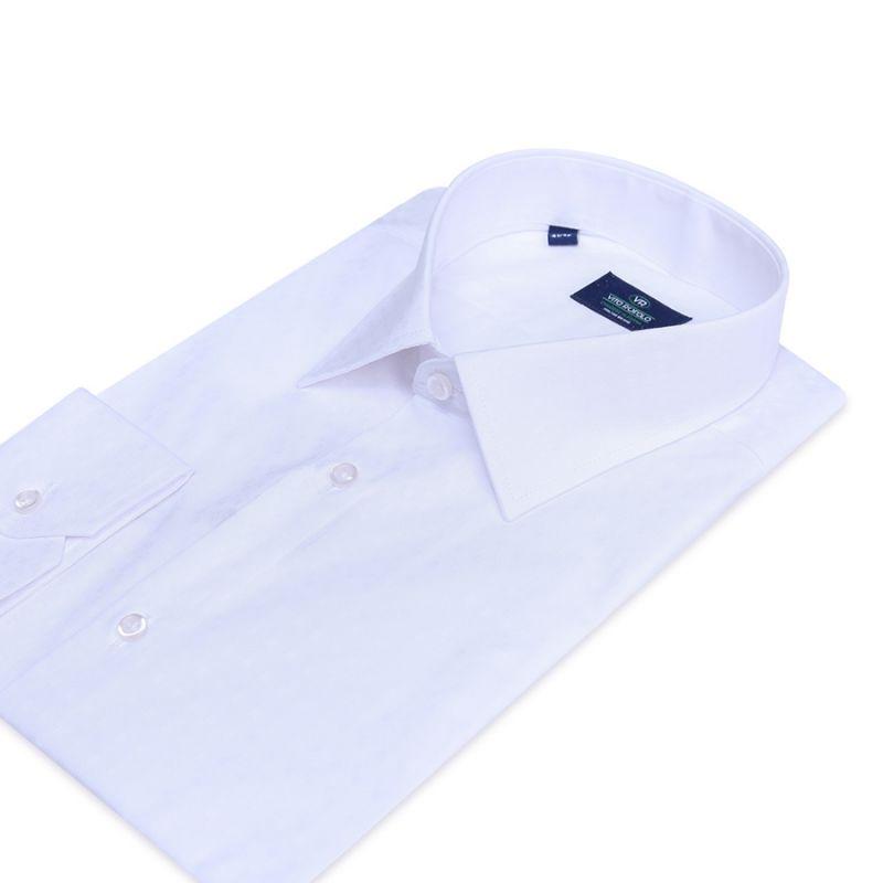 Рубашка белая однотонная полуприталенная хлопковая