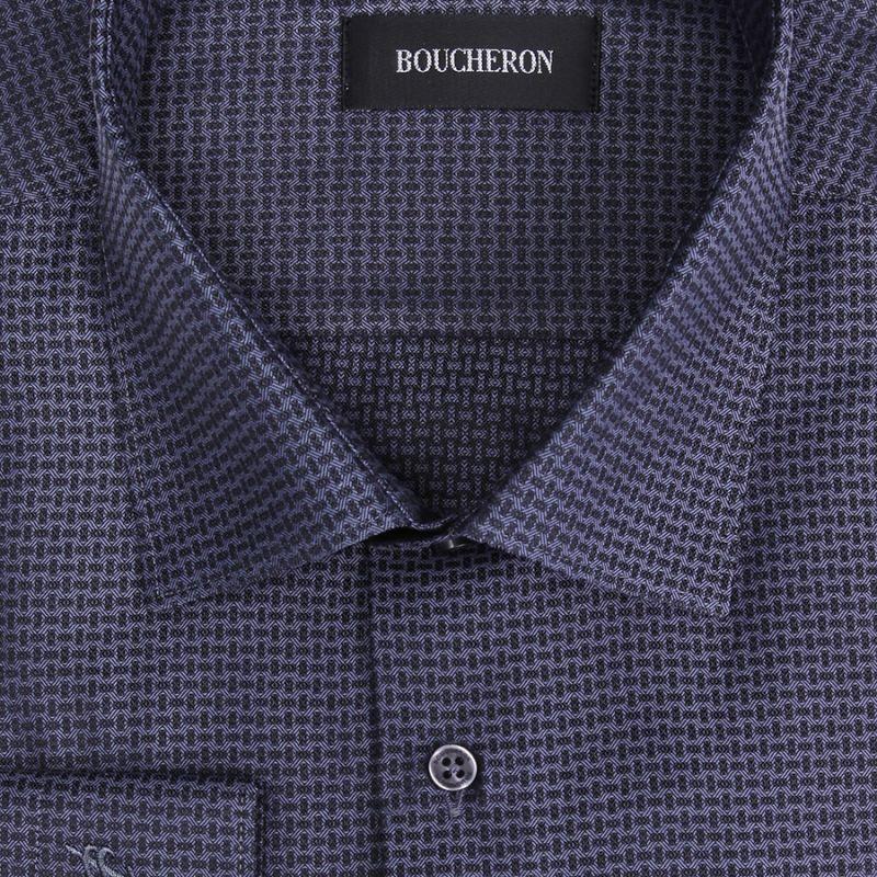 Рубашка тёмно-синяя с рябью, неприталенная