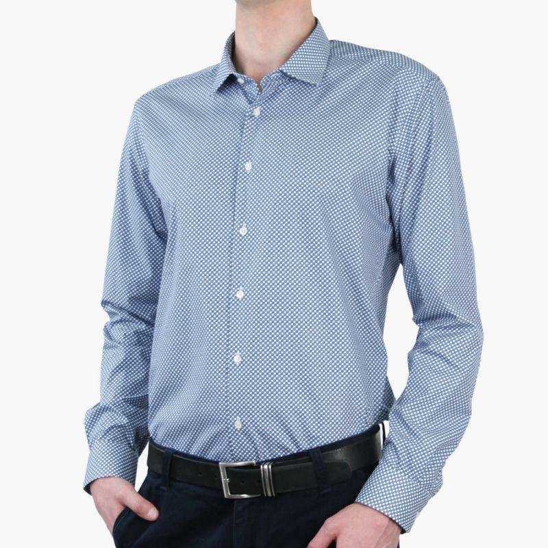 Рубашка голубая, рябая, приталенная и удлинённая