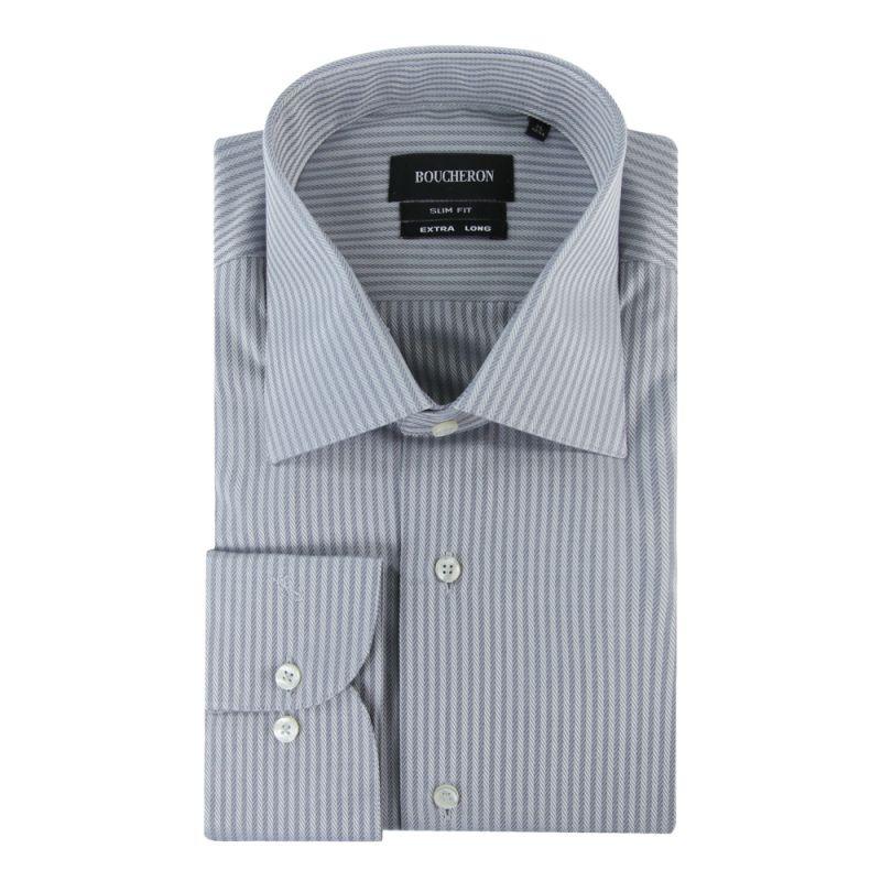 Серая рубашка в полоску, приталенная, удлиненная
