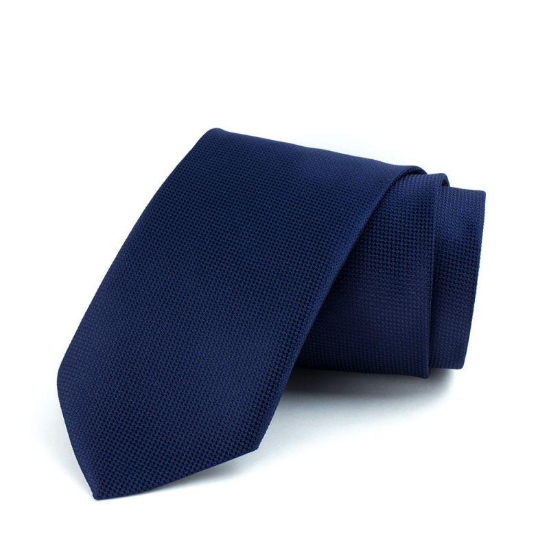 Галстук удлинённый синий однотонный с выделкой, 170 см.