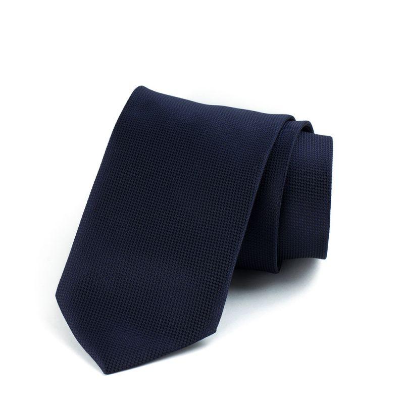 Галстук удлинённый тёмно-синий однотонный с выделкой, 170 см.