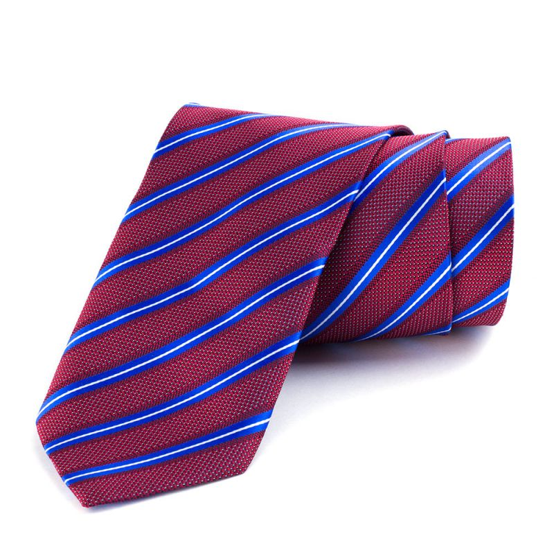 Галстук удлинённый бордовый с продольной голубой полоской, 170 см.