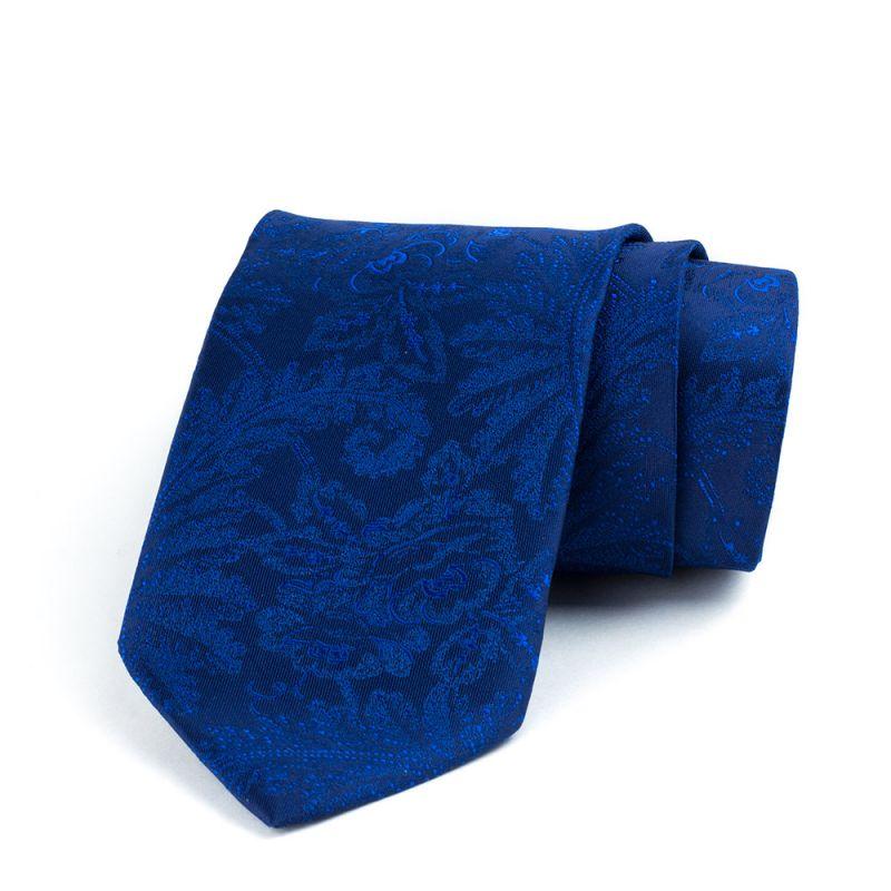 Галстук удлинённый синий с растительным принтом, 170 см.