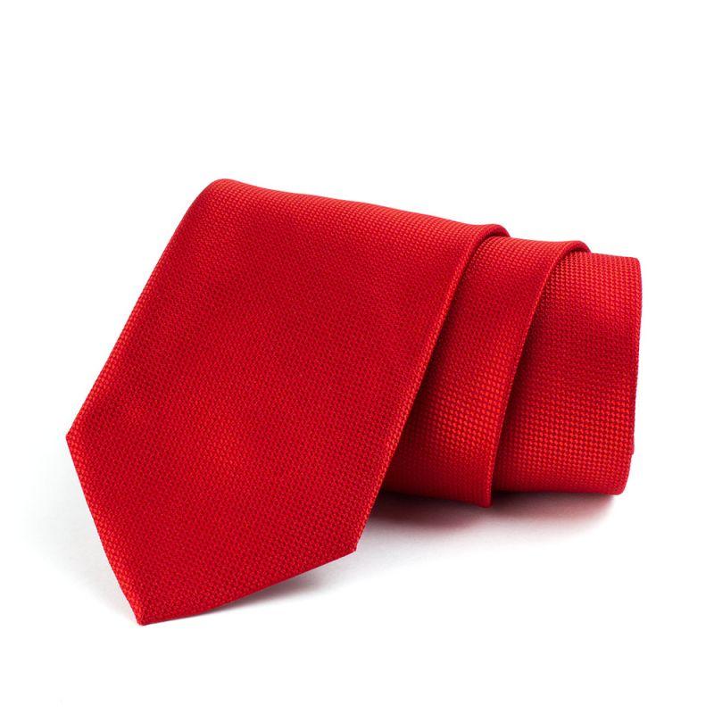 Галстук удлинённый красный с выделкой, 170 см.