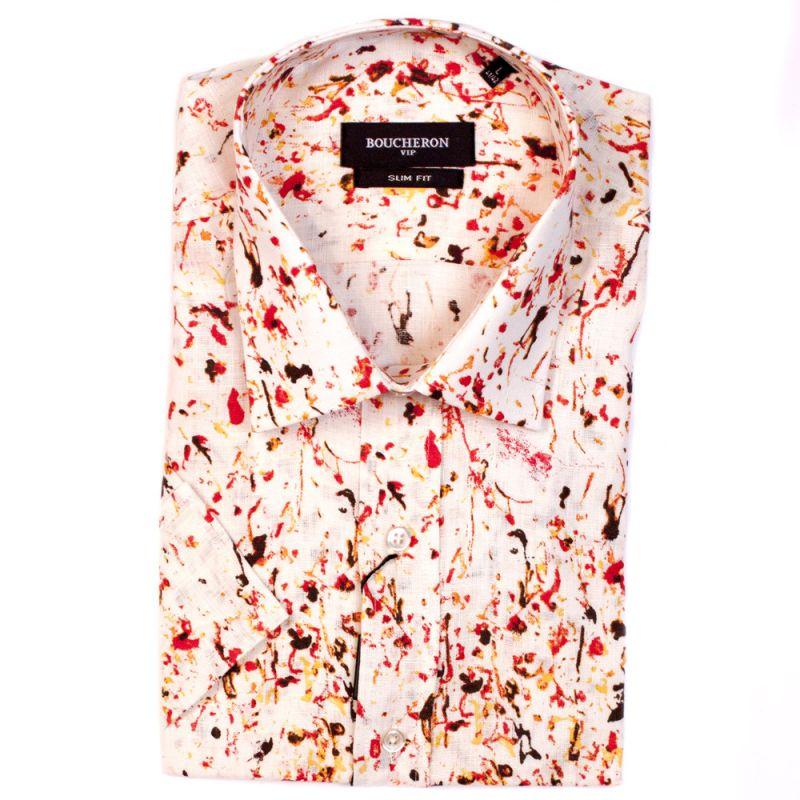 Рубашка льняная с рисунком, с короткими рукавами, приталенная